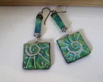 Hand made Polymer Clay Shell/Paper Bead Earrings.  Iridescent/shiny.  Titanium Ear wires.  Hippy/boho/beach/organic