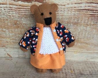 Miniature bear, felt bear, handsewn bear, teddy near