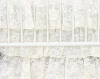Vintage Ivory Lace Ruffle Crib Skirt | ivory, Lace, Vintage, Sweet, Ruffled Baby Girl Crib Skirt | Ivory Vintage Baby Girl Crib Bedding Set