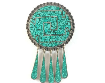 Vintage Sterling Silver Turquoise Brooch Mexican Pendant Necklace Turquoise Green Stone Dangles Pin Mexico Signed Antique Estate Jewelry
