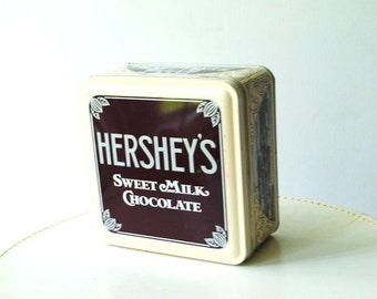 "Collectible vintage 90s Hershey's "" Sweet milk chocolate""  tin square box."