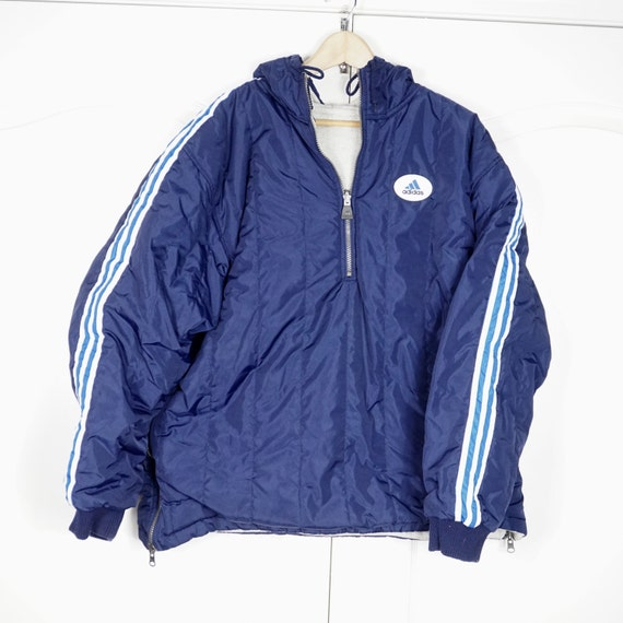 Vintage 1980's Adidas Navy Blue Windbreaker Jacket XL - www.brickvintage.com