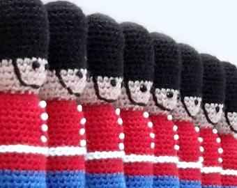 Amigurumi nutcracker. Handmade crochet soft plushie soldier.