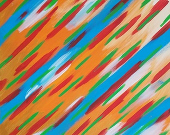 "Orange, Teal, White, Red and Green Original Acrylic Abstract Painting on Canvas ""Series 7 XIV"" Wall Art, Home Decor, Wall Hanging, Carl Dunn"