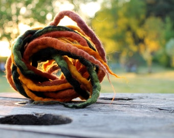 Felt Rope Cord Strings Felted Wool Dreads Fall Autumn Earthy Colors Brown Orange Yellow Green Set of 3 Long Necklace Belt Hair Headband