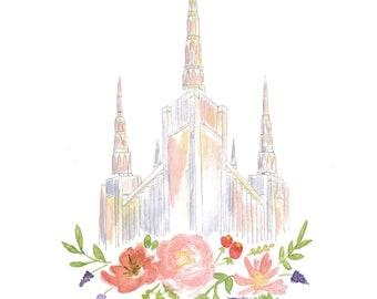 LDS Portland Oregon Temple Watercolor