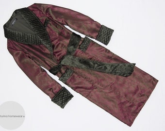 Burgundy Silk Velvet Men's Dressing Gown Quilted Collar Extra Long Big Warm Lined English Gentleman Robe Smoking Jacket Traditional Elegant