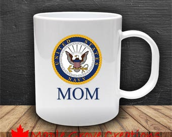 Navy Mom Mug - 11 oz ceramic coffee mug