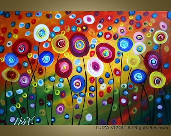 DANCING POPPIES Original Modern Abstract Fantasy Whimsical Flowers Large Painting by Luiza Vizoli Custom
