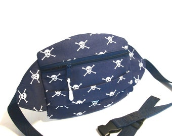 Crossbones and Skulls  Fanny Pack Trendy  Gothic  Navy Blue  Travel Fanny Pack  Fanny Festival  Fanny Pack  Summer Camp   Family Vacation