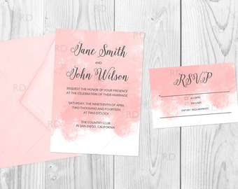Printable Wedding Invitation Suite / Watercolor Wedding Invite / Custom Watercolor Colors / Invitation and RSVP Card / You Pick Colors