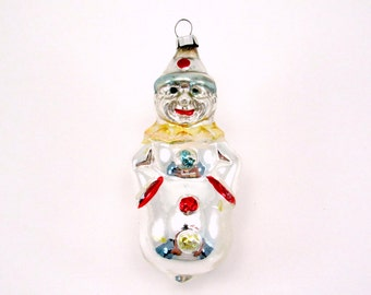 Vintage Clown Christmas Ornament Figural Glass Christmas Decoration