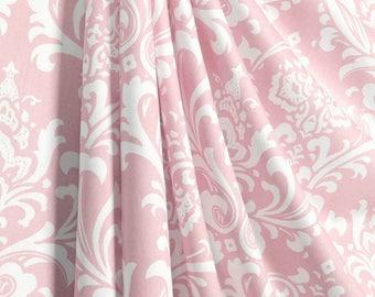 Pair (2 panels) designer drapes, curtain panels, Premier prints ozborne ozbourne, light pink, baby pink, bella and white, , cotton twill