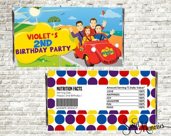 The Wiggles Candy Bar Wrappers, Wiggles Candy Bar Wrapper, Wiggles Wrapper, Printable DIY Wiggles Birthday Party, Wiggles Chocolate Wrapper