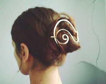 Large Hair Barrettes for Thick Hair Long Hair Accessories. Heart Brass Hair slide.