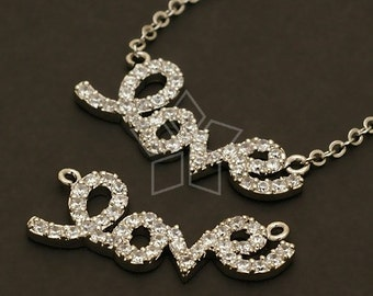 PD-237-OR / 1 Pcs - LOVE Pendant (Crystal), Silver Plated over Brass / 26mm x 10mm