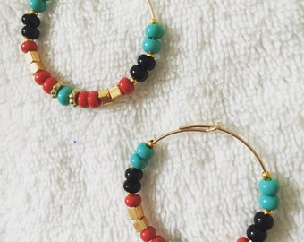 Ronees's beads gold plated hoops earrings