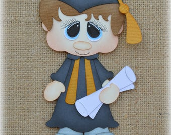 School Graduation boy Premade Scrapbooking Embellishment Paper Piecing