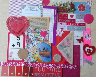 Valentine's Junk Journal Kit/ Scrapbooking Kit/Valentine's Planner Kit/Embellishment/ DIY Kit, Over 35 pieces.