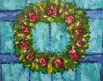 Colorful Abstract 24x24  Floral Cottage Chic Wreath Painting by Gina Parent from Rustysecrets