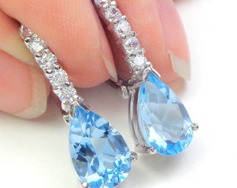 Topaz Earrings, Sterling Silver Earrings, Sky Blue Gemstone Earrings, Spring Colors, Gem Drop Earrings, Mother's Day, Natural Topaz Stones