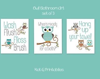 Merveilleux Owl Bathroom Prints, Kids Bathroom, Teal U0026 Gray Owl Decor, Childrenu0027s  Bathroom Wall Art, Wash Flush Floss Brush, Bath Art, Instant Download