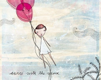 Dance With the Wind Archival fine art print kids decor children's rooms balloon wall art