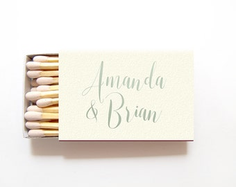 Wedding Matches Personalized in your Names - Foil Stamped Matchboxes Custom Party Favors for Rehearsal Dinner Bridal Shower Anniversary