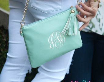 Leather Purse, Seafoam,  Kendall Vegan Leather Purse with Gold Chain, Crossbody Purse, Can be Personalized