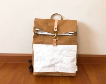 Backpack : Kraft paper roll top backpack/travel bag/beach bag/washable bag/lightweight and eco friendly