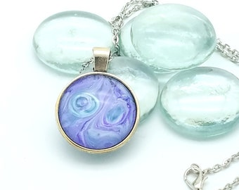Wearable Art Fun Handpainted Glass Pendant Necklace Purple Teal Neptune Planet Layering necklace 2018 Trend Science