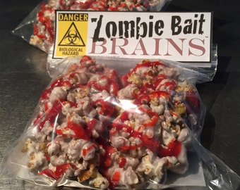 "Zombie Gift Dessert for Walking Dead Fan Delivered Zombie Apocalypse Bait ""Brains"" for Halloween Zombieland Teen Party: 6 Popcorn Treats"