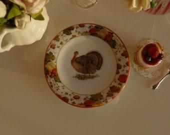 Thanksgiving Turkey Dollhouse Miniature Plate 1:12 scale
