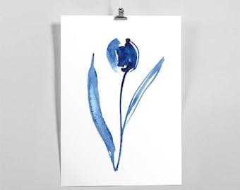 Tulip / watercolor painting, blue tulip, wall art watercolor print, floral, art, poster, printable art