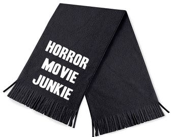Horror movie junkie scarf - horror scarves - horror scarf - black scarves - black scarf - funny scarf - fleece scarves - horror - funny