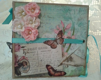 Custom Photo Book, Scrapbook Photo Album in Vintage Style, Springtime Themed Mini Album, 6.5 x 6.5 Mini Album, Handmade Album,