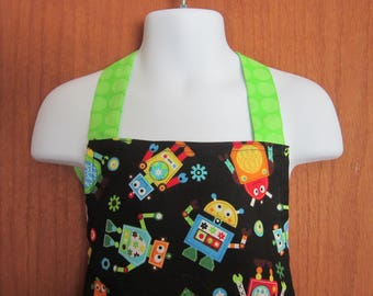 Kids Full Apron Black with robots Size 4 - 8