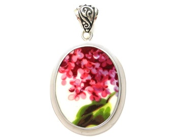 Broken China Jewelry Purple Lilac Flowers with Leaf C Sterling Oval Pendant