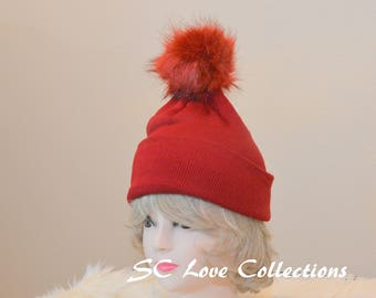 Red Fur Hat Pompom Faux Fur Beanies Red Fuschia White Blue Gray Black Warm Cozy Snow Wear Women's Beanie Hats One Size Assorted Colors