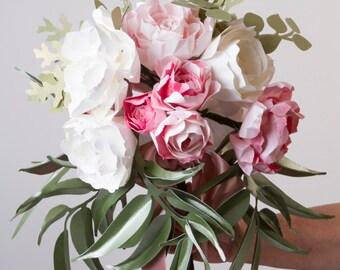 Paper flower bouquet, Paper peony bouquet, Eucalyptus leaves, Paper wedding bouquet, Origami flowers, Paper flowers, Paper peonies,  gift,