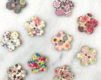Wooden Flower Buttons - Set of 10