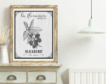 French Cottage Style Seed Packet Printable - Blackberry