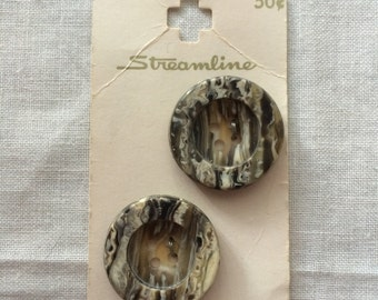 """Vintage 2 New Variegated Brown Round Buttons 1"""" Plastic on Card by Streamline"""