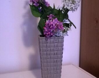 Distressed Grey Basket Weave Vase