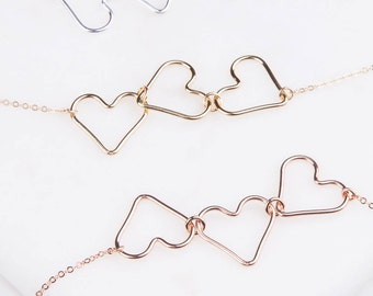 Three Heart Necklace in Silver, Rose Gold or Gold, Valentines Day Gift, Gift For Her,  Minimal Simple Necklace,Sweetheart Necklace