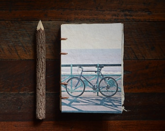 Bicycle Hand Bound Notebook, Eco Friendly Sketchbook, Coptic Stitch Binding with Handmade Paper, Brighton England Photography
