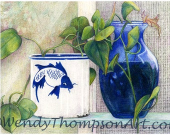 Blue Window - Cobalt blues and Asian fish on blank note card, still life with greens and blue