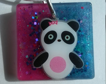 Purple and blue panda necklace