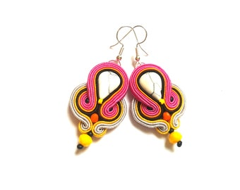 Brygida - Soutache Earrings, colorful earrings, boho and folk, bright, optimistic jewelry