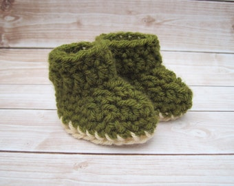 Crochet Baby Boy Booties, Green Baby Booties, Newborn Boy Booties, Infant Booties, Baby Boy Crib Shoes, Baby Boy Boots